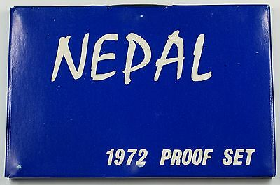 1972 Nepal Proof Set 7 Beautiful Gem Coins in Hard Plastic Case *Severe Scuffs