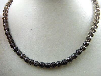 Nature AAA Tibetan Smoky Quartz Crystal Stone multi-faceted Necklace 5mm Healing