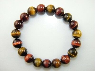 Natural Lucky Crystal Stretch Bracelet Tiger Eye Gem Stone 9mm Bead Rock Healing