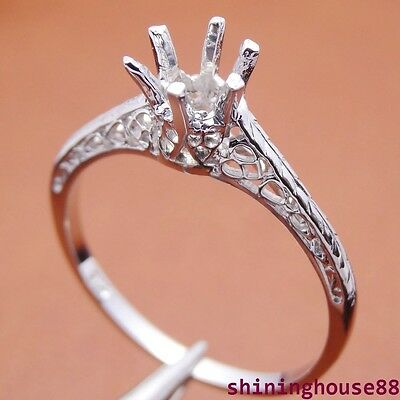 14k White Gold Antique Semi Mount Round 5MM Art Deco Vintage Ring Setting