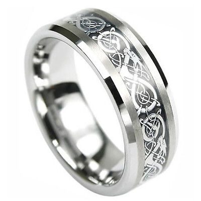 8MM Silver Celtic Dragon Tungsten Carbide Men's Ring Wedding Band All Size M33