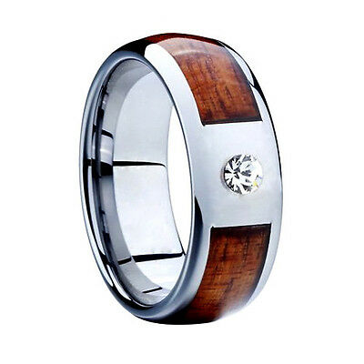 Tungsten Wood Inlay 8MM Silver Lab Diamonds Mens Ring Wedding Band All Size M3