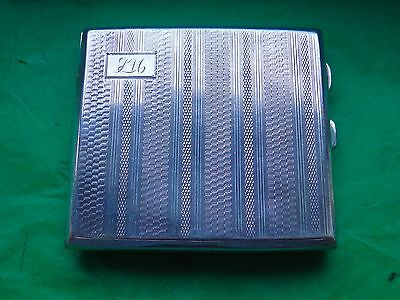 Cigarette Case, Sterling Silver Engine Turn, 1929, Art Deco, Birmingham, Vintage