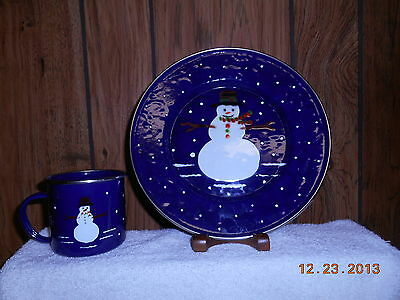 Blue granite plate and cup.  Has GRII on bottom of both pieces