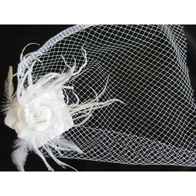 Birdcage Veil White Feather Hair Fascinator Wedding Bride Bridal Accessories