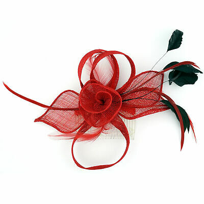 Fascinator Red Feather Hair Comb Accessories Races