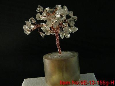 Natural Quartz Crystal Chip China Money Lucky Tree Fluorite Stand Healing5E13G~K