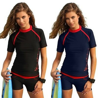 50UPF Zipper size 8-26 Women Surf Vest Shirt Rashie Plus Size Ladies Rash Guard