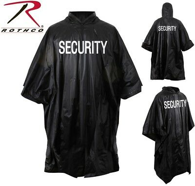 Black Tactical Law Enforcement Waterproof Security Rain Poncho With Hood 3687