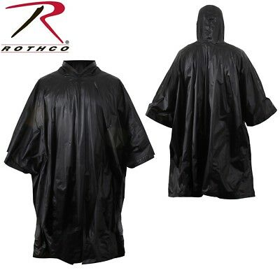 8f883fd7e Black Rip-Stop Military Tactical Waterproof Hooded Rain Poncho Rothco 4958
