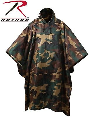 Woodland Camouflage Rip-Stop Tactical Military Hooded Rain Poncho 4858