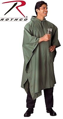 Olive Drab Green Rip-Stop Tactical Military Hooded Rain Poncho 4865