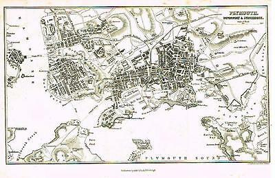 """Bartholomew Town Plan Map - """"PLYMOUTH"""" Published by A. & C. Black - 1869"""