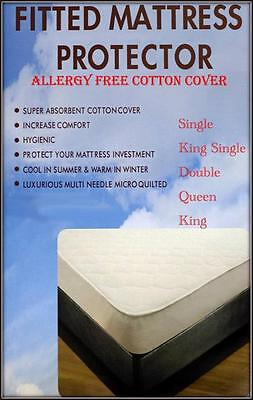 100% Cotton Cover Fully Fitted Mattress Protector For All Bed Sizes
