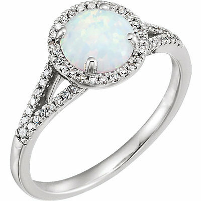 1/5 ct tw Genuine Diamonds & Opal Created Gemstone Ring  in 14K Solid White Gold