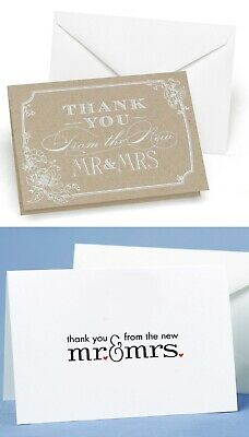 New 50 x Wedding Thank You Cards with Envelopes Mr & Mrs