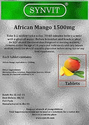 African Mango 1500mg tablets - Diet, Weight Loss & Slimming pills SYNVIT®