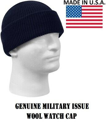 5a4f349684f Navy Blue 100% Wool Hat Winter Cap Knitted Military Watch Cap USA Rothco  8493