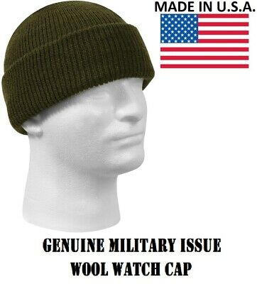 f117f705dc75a6 OD Green Military Issue Wool Watch Cap 100% Wool Skiing Beanie Rothco 5779