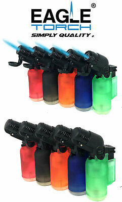 5 Pack 45 Degree Angle Jet Flame Butane Torch Lighter Refillable Windproof