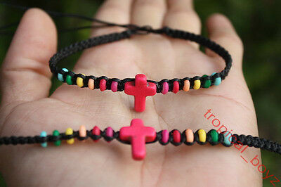 10 PINK Cross Jesus Rainbow Bone Beads BLACK Friendship Bracelets Wholesale Lot