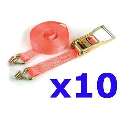 10 x Haulage load securing ratchet straps tie downs 5 Ton x 10M - trailer truck