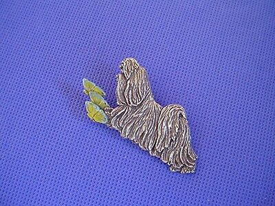 Shih tzu CHASING BUTTERFLIES pin #44F Pewter Dog Jewelry by Cindy A. Conter