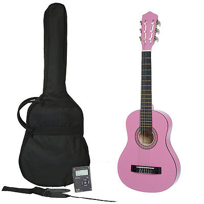 New Sanchez 1/4 Size Classical Guitar Pack for Kids Beginner Nylon (Pink)