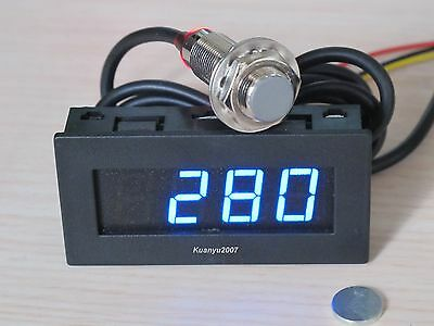 4 Digital Blue LED Tachometer RPM Speed Meter+Hall Proximity Switch Sensor NPN