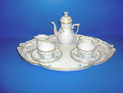 HEREND PORCELAIN  TEA  FOR 2  - TRAY, CUPS, SAUCERS, SUGAR BOWL AND MILK JUG