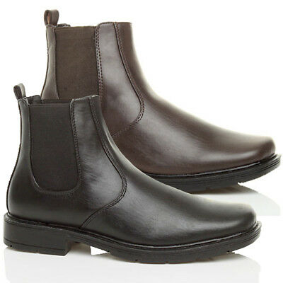 Mens Low Heel Square Toe Chelsea Pull On Smart Casual Ankle Boots Size