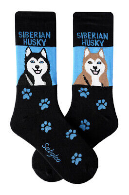 Siberian Husky Socks Lightweight Cotton Crew Stretch Egyptian Made
