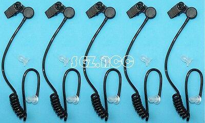 5x - NEW BLACK COILED ACOUSTIC TUBE WITH EARTIP - RADIO EARPIECE HEADSET MIC