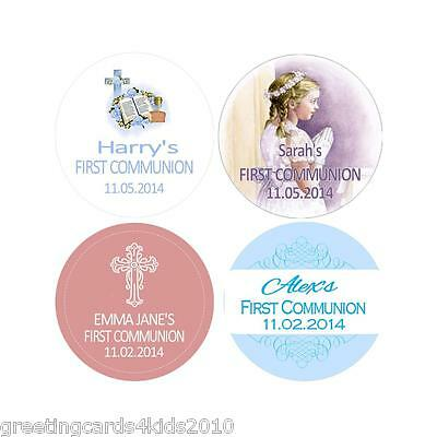 Personalised Communion Stickers Labels Various Designs & Sizes available