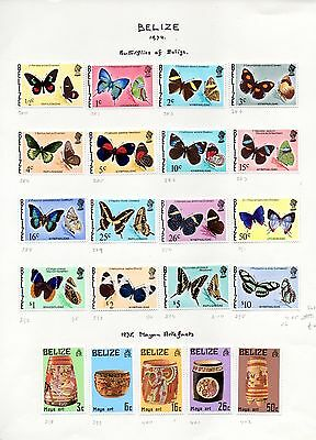 Belize small collection 1974 - 1980 on album pages total catalogue approx £130