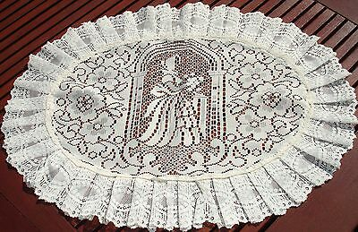 "Cream Frilled Lace Tray Cloths 17"" x 23"" lace design"