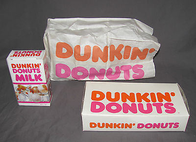 1980's Dunkin Donuts Play Food Set - Milk, Donut, Box and Bag
