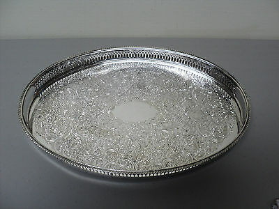 "Vintage Silver Plate 15.5"" Gallery Tray All-Over Engraved Design & Pierced Rim"