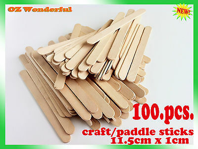 100 pc Wooden Craft Sticks/Paddle Pop Sticks 11.5cm x 1cm