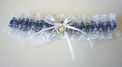 Wedding Garter  - S, M, L - White/royal Blue/lace - Made In Australia