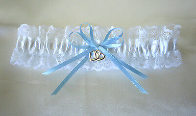 Wedding Garter  - S, M, L - White/lace/blue Ribbons - Made In Australia