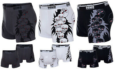 New Mens Sexy Skull Print Cotton Boxer Shorts Boxers Trunks Underwear Size S M L