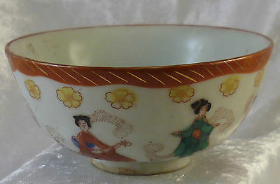 Vintage Japanese / Chinese / Oriental Tea Bowl - Hand Painted Geisha Design ther
