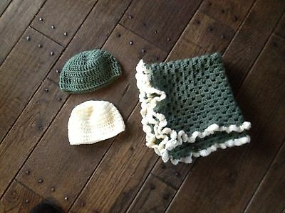 Handmade Crocheted Granny Square With Scalloped Edge Blanket And Hat Set