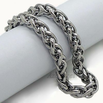 """6MM 7""""-11"""" MENS Silver Stainless Steel Wheat Braided Chain Bracelet Free Ship"""