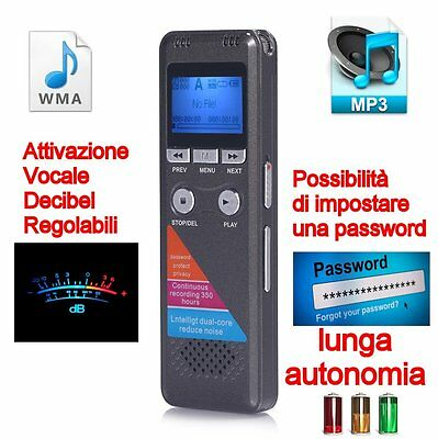 Registratore Professionale 8Gb Processore Dual Core Audio Vocale Mp3-Wma Spy