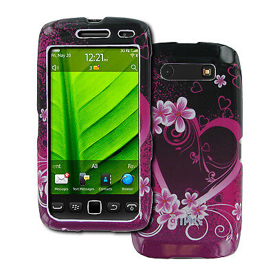 EMPIRE BlackBerry Torch 9850 9860 Purple Hearts with Flowers Design Hard Case Co