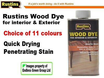 Rustins Wood Dye - quick drying wood stain - easy to apply - colour choice 250ml