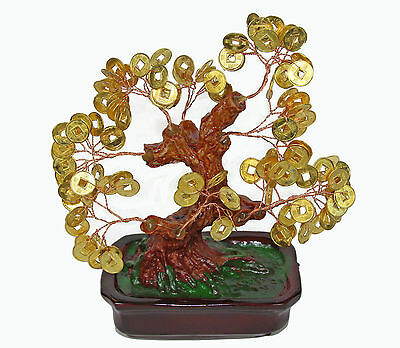 "Chinese Feng Shui Bonsai Gold Coin Money Tree 7"" Lucky Wealth Abundance"