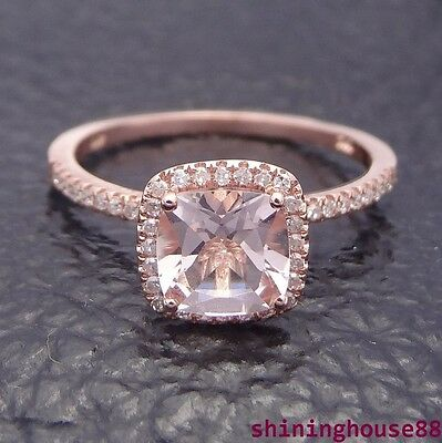 10K Rose Gold 1.1ct Morganite & Pave Diamond Claw Prongs Engagement Ring #8